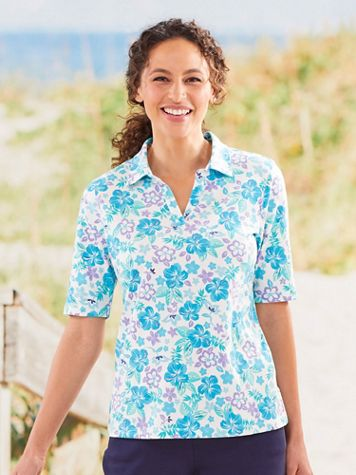 Koret Hibiscus Print Polo - Image 1 of 4