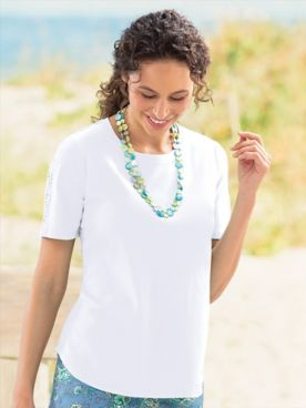 Lace-Trimmed Short-Sleeve Tee