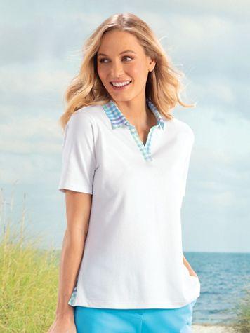 Gingham-Trim Short-Sleeve Polo - Image 1 of 1
