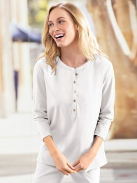 Gold-Button Solid Tunic