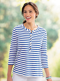 Gold-Button Stripe Tunic