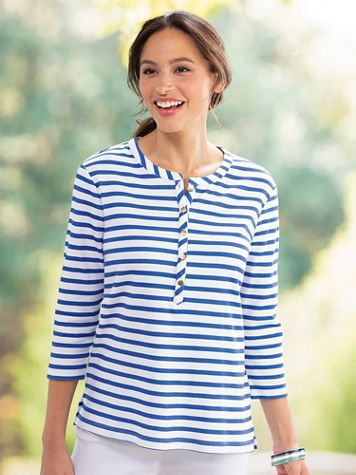 Gold-Button Stripe Tunic - Image 1 of 1