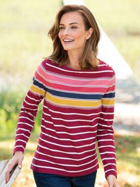 Multi-Color Stripe Bateau-Neck Long-Sleeve Cotton Tee