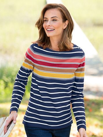 Multi-Color Stripe Bateau-Neck Long-Sleeve Cotton Tee - Image 3 of 3