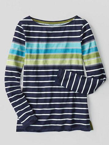 Multi-Color Stripe Bateau-Neck Long-Sleeve Cotton Tee - Image 1 of 2