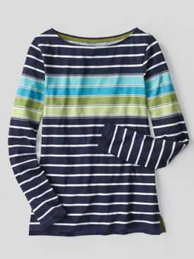 Multi-Color Stripe Bateau-Neck Long-Sleeve Cotton Tee