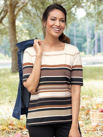 Koret Neutral-Stripe Elbow-Sleeve Tee - Image 1 of 2