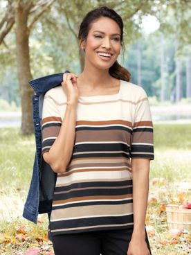 Koret Neutral-Stripe Elbow-Sleeve Tee