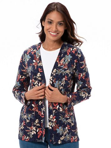 Blooming Foliage-Print Everyday Knit Cardigan - Image 1 of 2