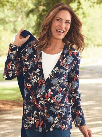 Blooming Foliage-Print Everyday Knit Cardigan - Image 4 of 4
