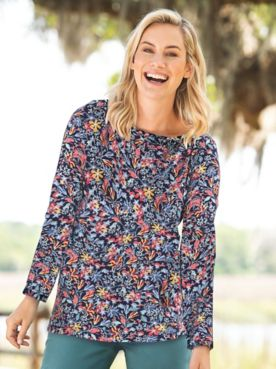 Fall Floral-Print Long-Sleeve Cotton Knit Tee