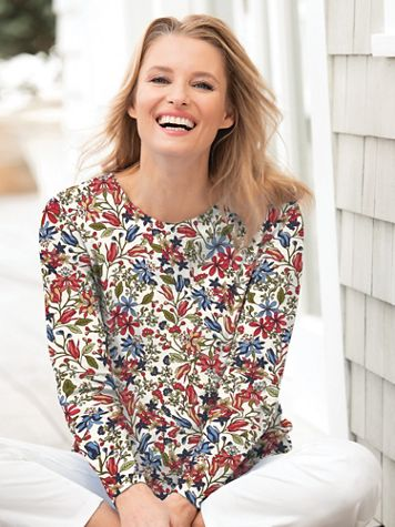 Fall Floral-Print Long-Sleeve Cotton Knit Tee - Image 1 of 2