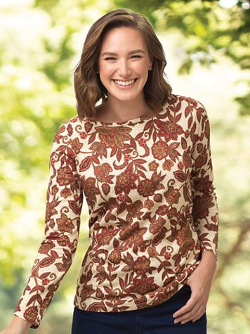 Regal Floral-Print Long-Sleeve Cotton Tee - Image 3 of 3