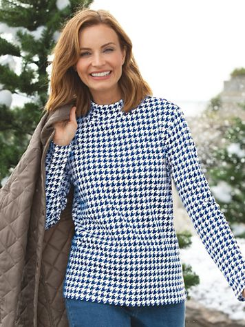 Houndstooth Essential Cotton Knit Long-Sleeve Mockneck - Image 1 of 4