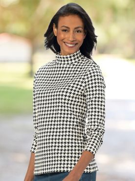 Houndstooth Essential Cotton Knit Long-Sleeve Mockneck