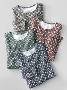 Floral Tile-Print Long-Sleeve Cotton Tee