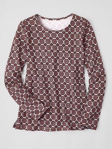 Floral Tile-Print Long-Sleeve Cotton Tee - Image 1 of 1