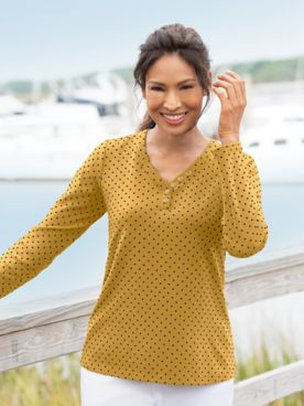 Dot-Print V-Neck Long-Sleeve Henley