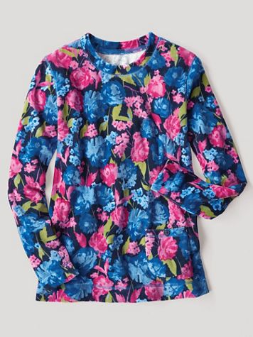 Floral-Print Velour Long-Sleeve Pullover Top - Image 1 of 1