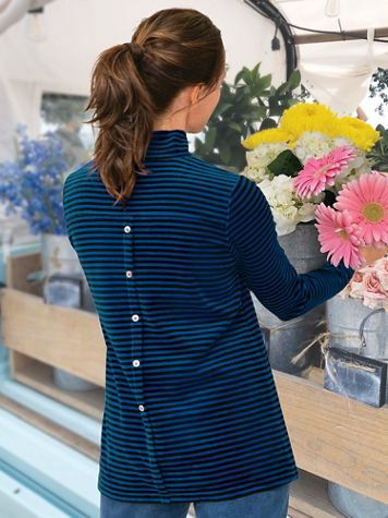 Striped Velour Back-Buttoned Mockneck Tunic - Image 1 of 4