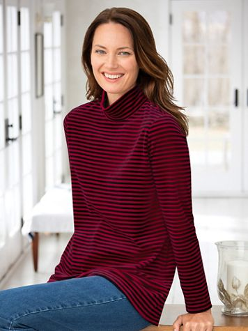 Striped Velour Back-Buttoned Mockneck Tunic - Image 3 of 3
