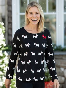 Limited-Edition Scottie Dog Print Long Sleeve Cotton Tee