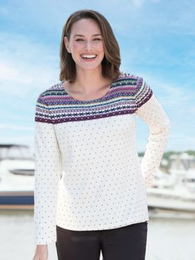 Fair Isle & Dot-Print Long-Sleeve Tee