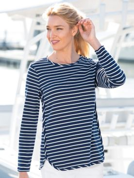 Stripe Bateau-Neck Knit Tunic