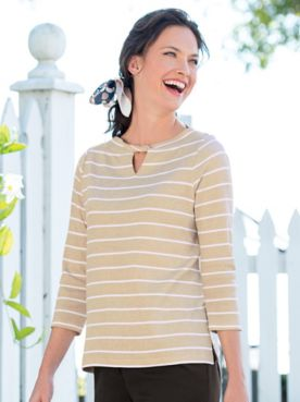 Striped Twist-Neck Tee