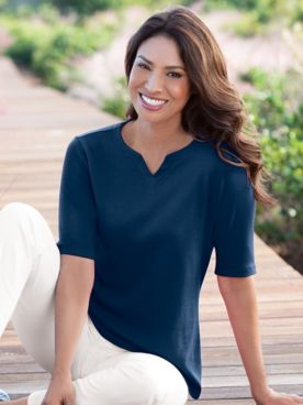 Coastal Cotton Notched Neckline Elbow-Sleeve Tee