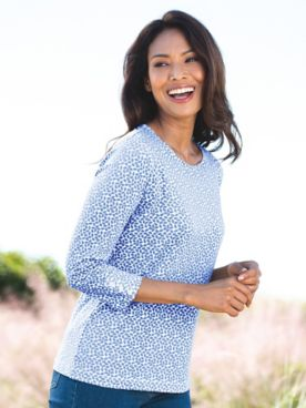 Petal-Print Three-Quarter-Sleeve Tee