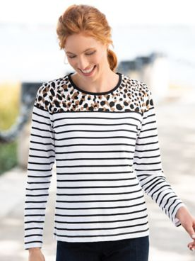 Animal-Print & Stripe Long-Sleeve Tee