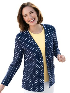 Everyday Knit Dot-Print Cardigan Sweater