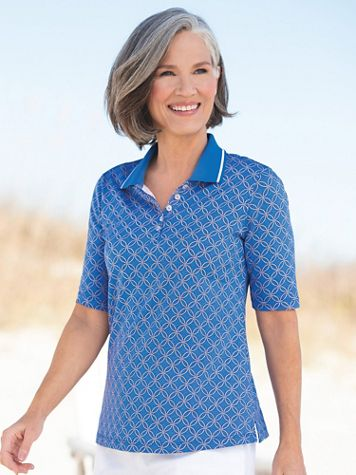 Tipped Geo-Print Pima Cotton Polo - Image 3 of 3