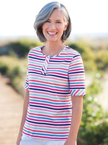 Beach Umbrella Stripe Cotton Knit Henley  - Image 3 of 3