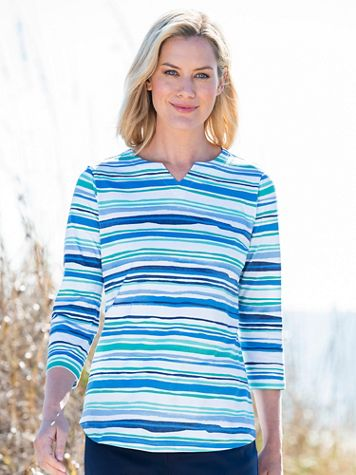 Watercolor-Stripe Notched-Neck Cotton Tee - Image 3 of 3