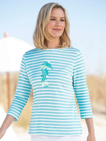 Simply Stripes Cotton Seahorse Tee - Image 4 of 4