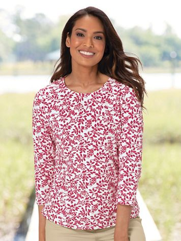 Leaf-And-Berries Print Cotton Tee - Image 1 of 6