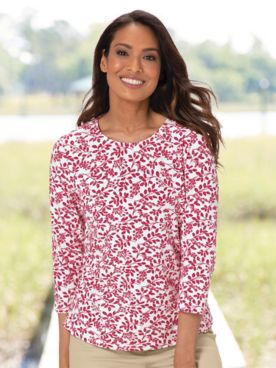 Leaf-And-Berries Print Cotton Tee