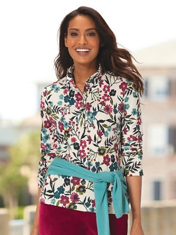 Meadow Floral-Print Essential Cotton Henley - Image 1 of 3
