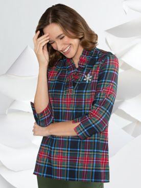 Plaid Ruffle-Neck Knit Tunic
