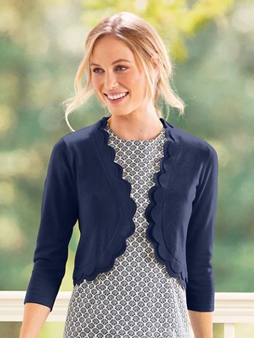 Scallop-Trim Sweater Shrug