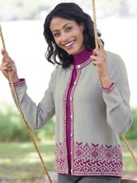 Sunflower Jacquard Cotton Cardigan Sweater