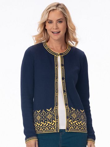 Sunflower Jacquard Cotton Cardigan Sweater - Image 1 of 3