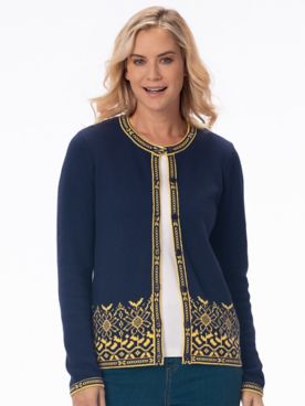 Sunflower Jacquard Cotton Cardigan Sweater