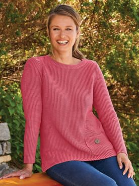 Shaker-Stitch Pocket Pullover Sweater