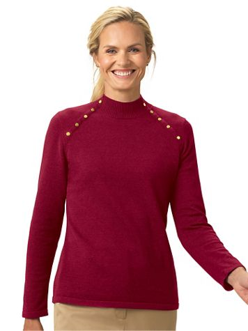 Gold Button Mockneck Sweater - Image 3 of 3