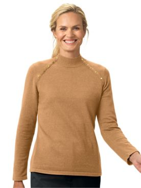 Gold Button Mockneck Sweater