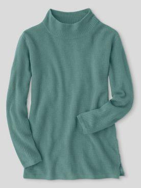 Waffle-Stitch Funnel-Neck Tunic Sweater