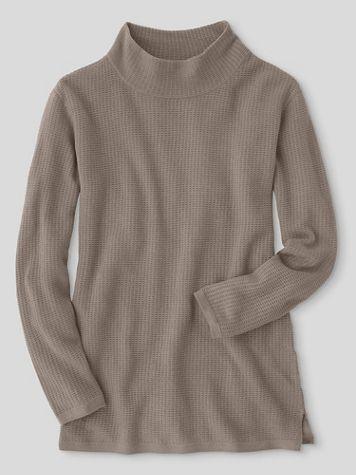 Waffle-Stitch Funnel-Neck Tunic Sweater - Image 1 of 1